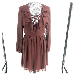 Forever 21 brown lace up ruffle long sleeve dress
